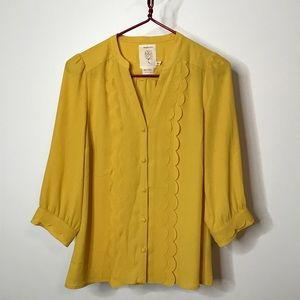 Anthropologie Meadow Rue Mustard Button Front Top